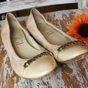 AGL leather chain link flats slip ons nude 9.5